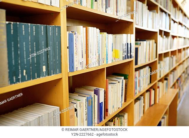 Book stacks at the Alberto Di Giovanni Italian library in the Columbus Centre Toronto Canada