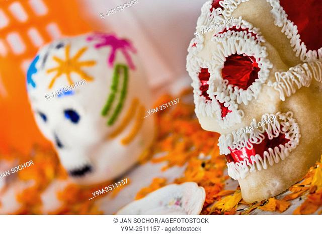 Decorated sugar sculls are placed at the altar of the dead (altar de muertos), a religious site honoring the deceased, during the Day of the Dead celebration in...