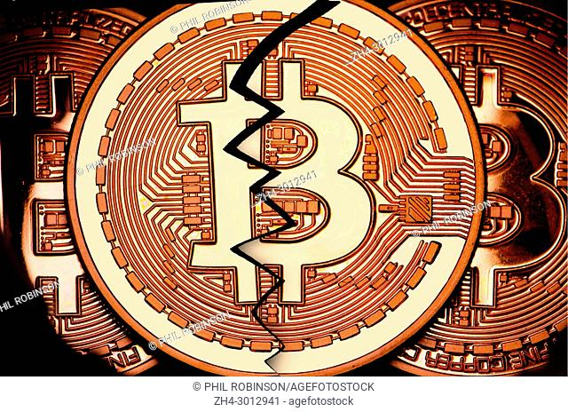 Bitcoin cryptocurrency / payment system (Copper Bitcoin Commemorative Round . 999 bullion) Electronic currency - broken / failed