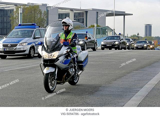 15.10.2014, Germany, Berlin, Police escorts during the visit of the French Foreign Minister Laurent Fabius at Frank-Walter Steinmeier