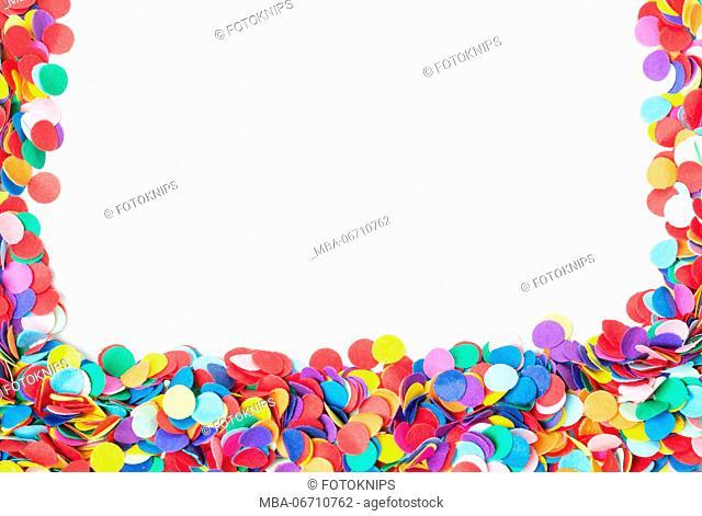 Coloured confetti, isolated on white