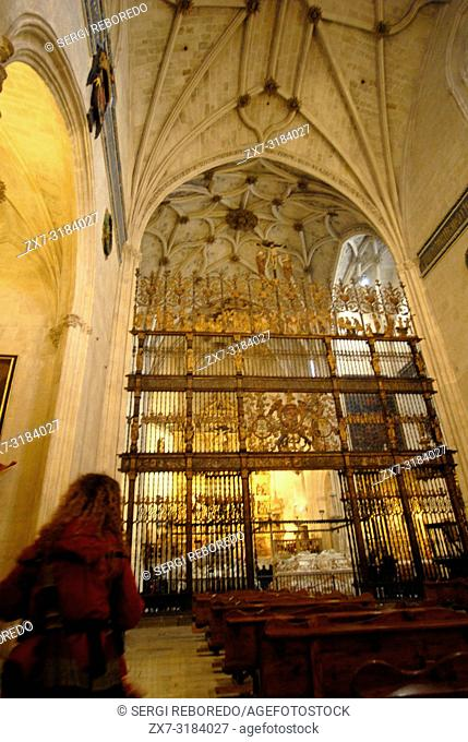 Royal Chapel of the cathedral. Reja Mayor (higher grid). 16th century. Granada, Andalucia, Spain