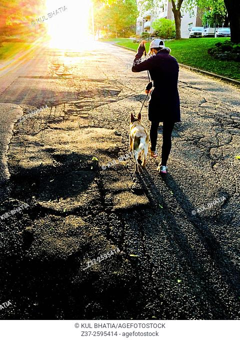 A young woman walks her dog uphill in warm, glowing light, Ontario, Canada