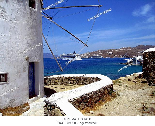 Europe, Greece, Greek Islands, Mykonos, aegean mediterranean, Cyclades Chora, white, painted, stucco, houses, architecture, windmill, Little Venice, colored