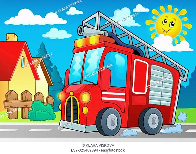 Fire truck theme image 2 - picture illustration