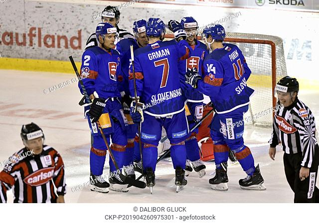 Players of Slovakia celebrate a goal during the Euro Hockey Challenge match Slovakia vs Czech Republic in Trencin, Slovakia, April 26, 2019