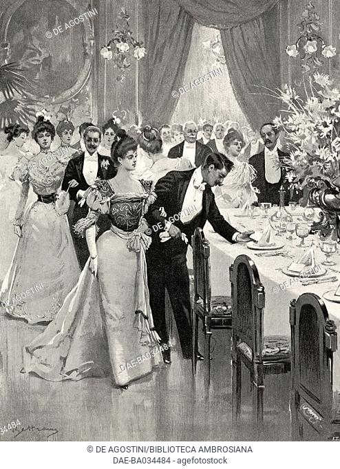 New Year's dinner, drawing by Achille Beltrame (1871-1945), from L'Illustrazione Italiana, Year XXV, No 1, January 2, 1898
