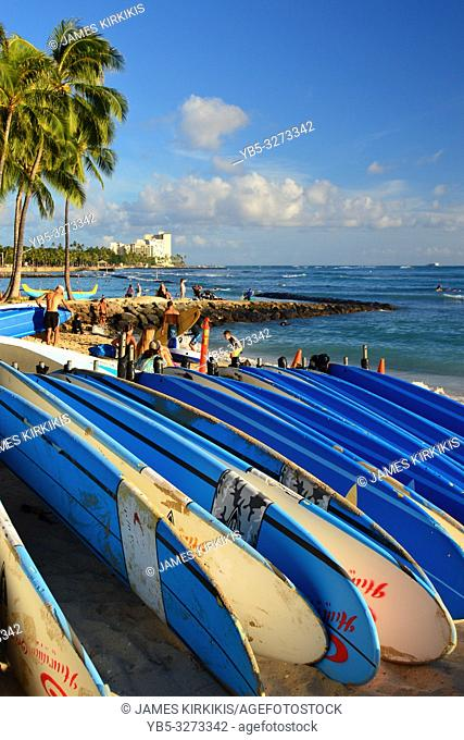 Surfboards are laid out, ready to catch he waves, at Waikiki beach, Hawaii
