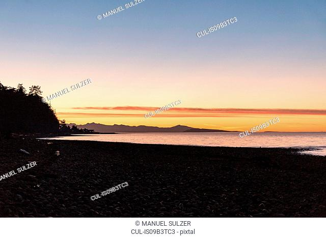Beach at sunset, Rathrevor Beach Provincial Park, Vancouver Island, British Columbia, Canada
