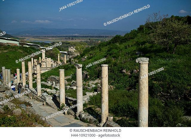 Excavation, excavation site, Ephesos, Ephesus, capital, capitals, province Izmir, Roman empire, place of interest, landmark, street, column, columns, column row