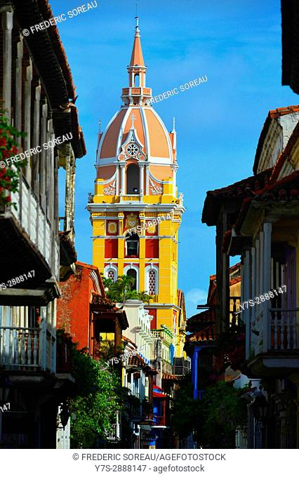 Tower of the historic Cathedral of Saint Catherine of Alexandria in the city of Cartagena de Indias ,Colombia,South America