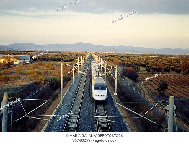 AVE High-speed train Madrid-Sevilla traveling along La Mancha. Ciudad Real province, Castilla La Mancha, Spain