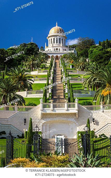 The Bahia shrine and gardens on the slopes of Mount Carmel in Haifa, Israel, Middle East