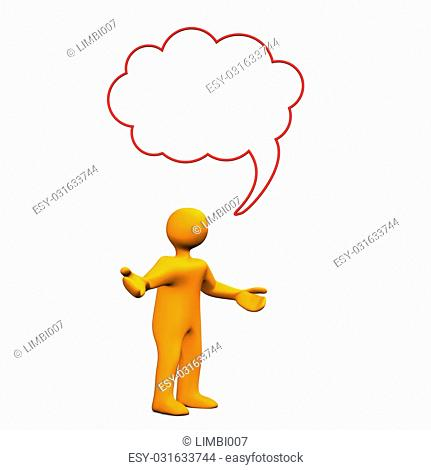 Orange cartoon character with speech bubble on the white background