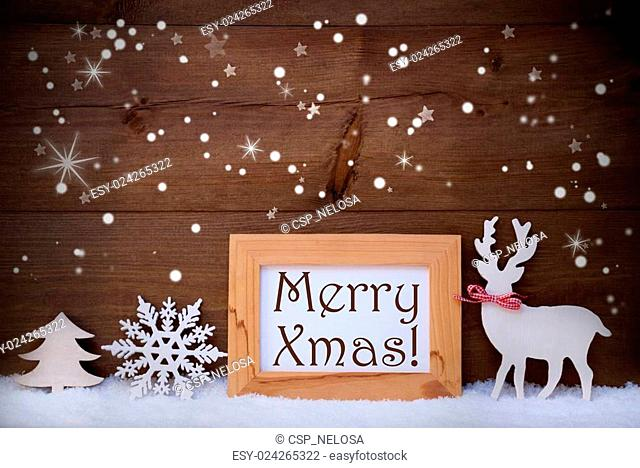 White Decoration On Snow, Merry Xmas, Sparkling Stars