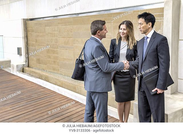 A group of executives shaking hands in their office building