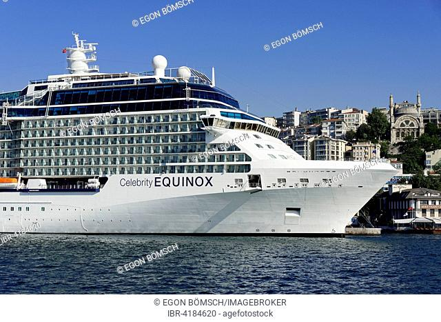 Cruise ship Celebrity Equinox, built in 2009, 317,2m long, 2,850 passengers, at the quay of Karaköy, Istanbul Modern, Beyoglu, Istanbul, Turkey