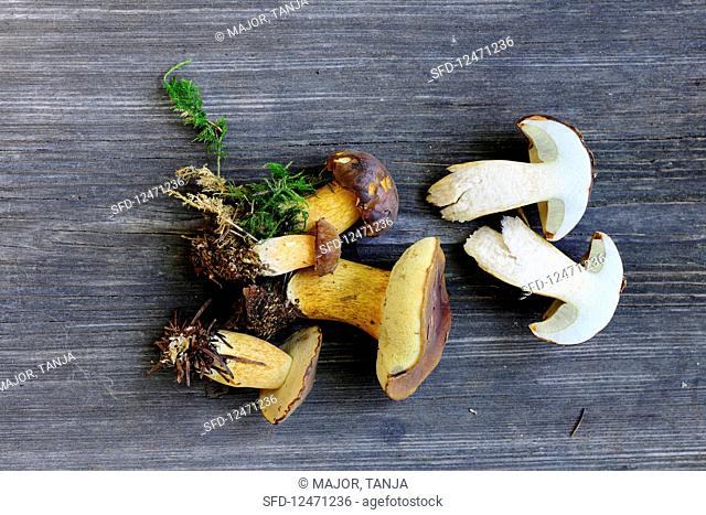 Fresh chestnut mushrooms on a wooden surface (seen from above)