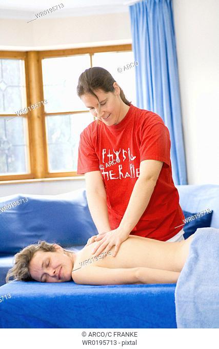 Woman, getting, massage