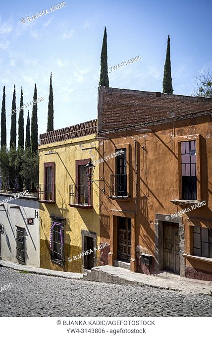 San Miguel de Allende, Street with beautiful old houses in a colonial-era city, Bajío region, Central Mexico