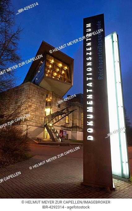 Entrance, Documentation Center Nazi Party Rally Grounds, dusk, Nuremberg, Middle Franconia, Bavaria, Germany