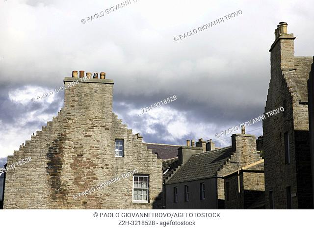 Typical stone house in St Margaret's Hope village, Orkney, Scotland, Highlands, United Kingdom