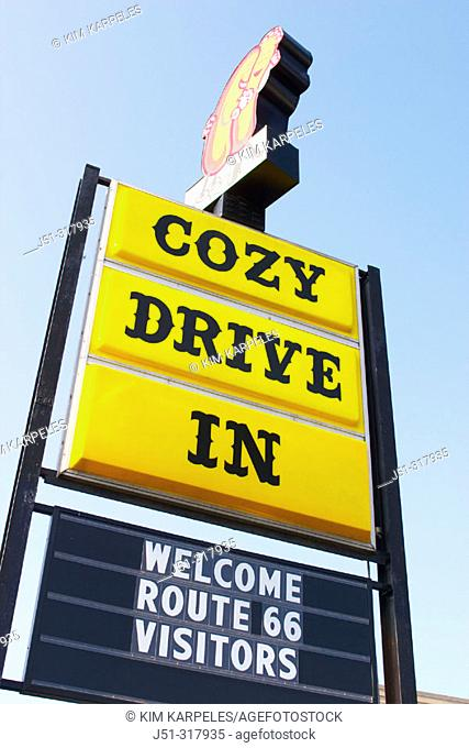 Cozy Dog Drive Inn on Route 66, open since 1949, hot dogs on a stick originated here, sign welcoming visitors. Springfield. Illinois, USA