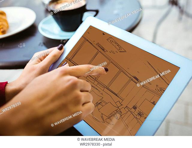 3D blueprint on tablet ( two-tone> brown and orange)