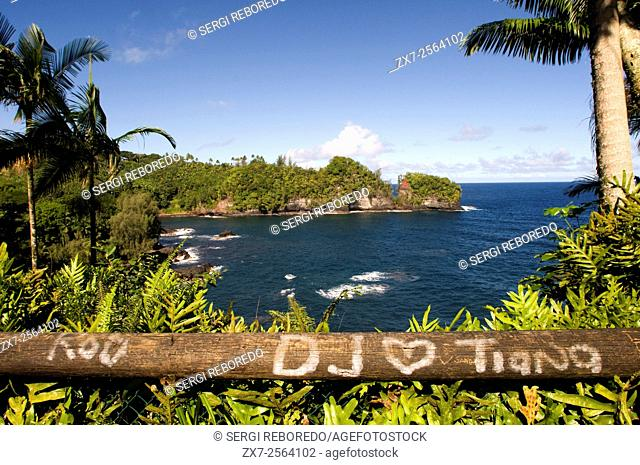 Coastal views from the Panoramic Route Pepe'ekeo. Big Island. Hawaii. Pepe'ekeo scenic drive. The Pepeekeo also known as the Onomea bay scenic drive is the most...