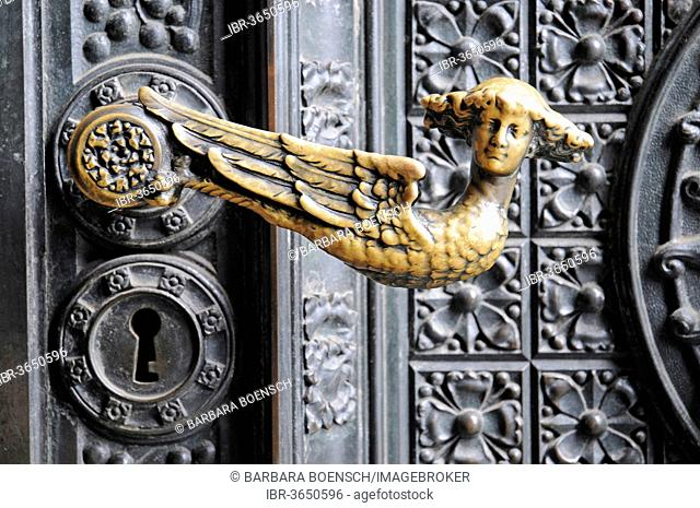 Door handle on the entrance portal, Cologne Cathedral, Cologne, Rhineland, North Rhine-Westphalia, Germany