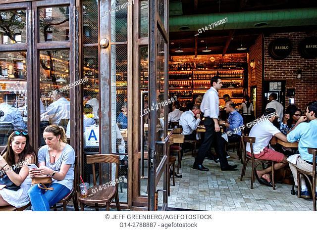 New York, New York City, NYC, Manhattan, Hell's Kitchen, Aria, restaurant, Italian wine bar, Cicchetti, drinking, outside, inside