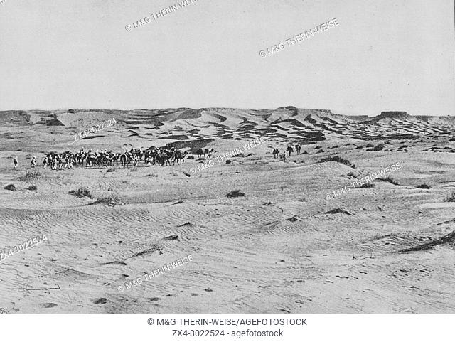 French Foureau-Lamy expedition in Chad in 1900, Expedition caravan, Picture from the French weekly newspaper l'Illustration, 9th September 1900