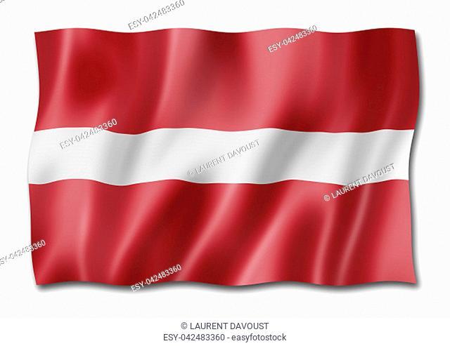 Latvia flag, three dimensional render, isolated on white