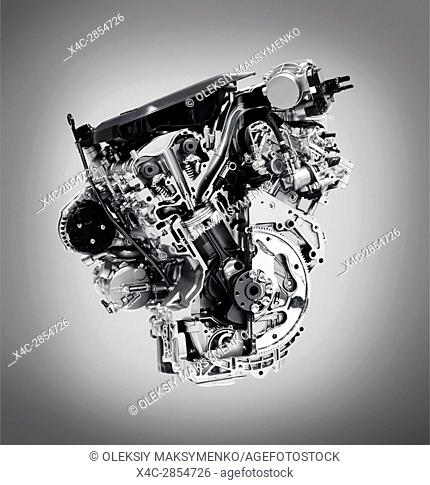 Cross section of 2017 Buick Lacrosse 3. 6L V6 VVT DI 310HP car engine showing the cylinder, piston and valves isolated with clipping path on gray background