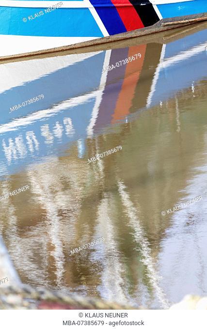 Details of ships in harbor, reflection, water, Neuharlingersiel, shrimp boat, East Frisia, Lower Saxony, Germany