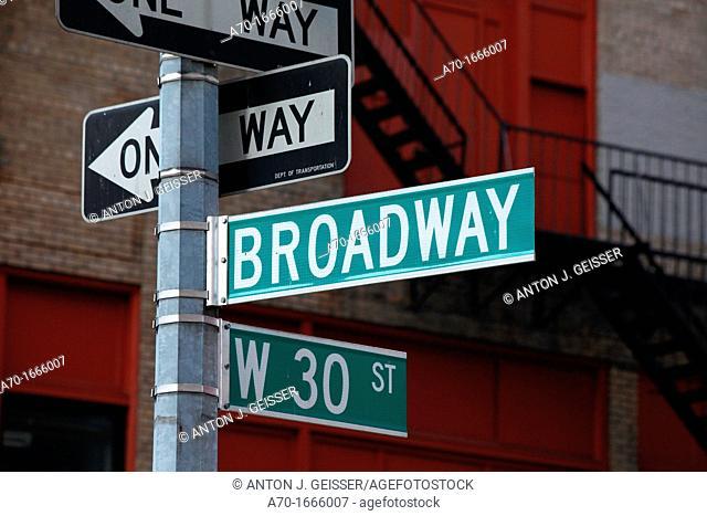 Broadway sign ,manhattan , new york city