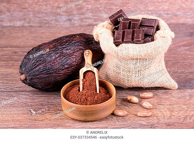 cocoa fruit with chokolate on a white background