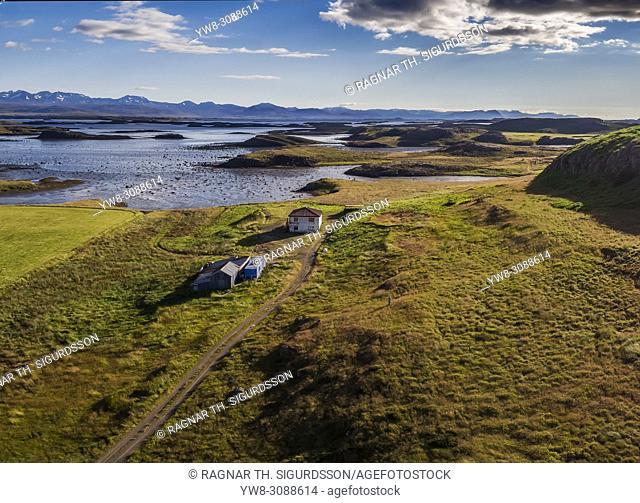 Aerial - Abandoned Farm, Fellsstrond, Snaefellsnes Breidafjordur fjord, Western Iceland