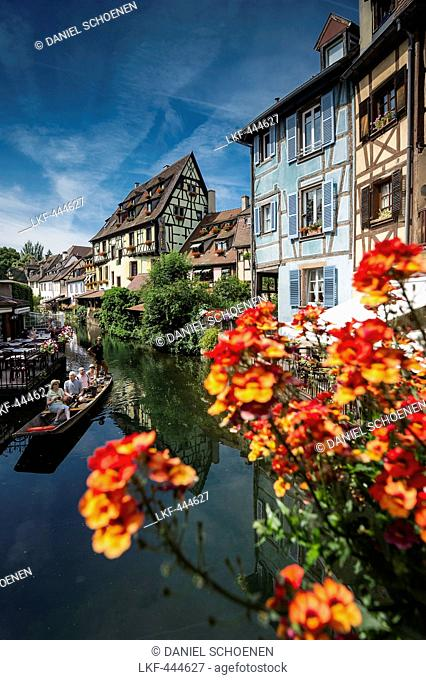 Half timbered houses with summer flowers, Petite Venise, Colmar, Alsace, France