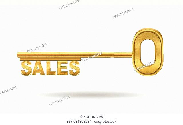 sales - golden key isolated on white background