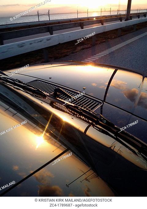 Driving in the beauty sky. Øresundsbroen, Denmark