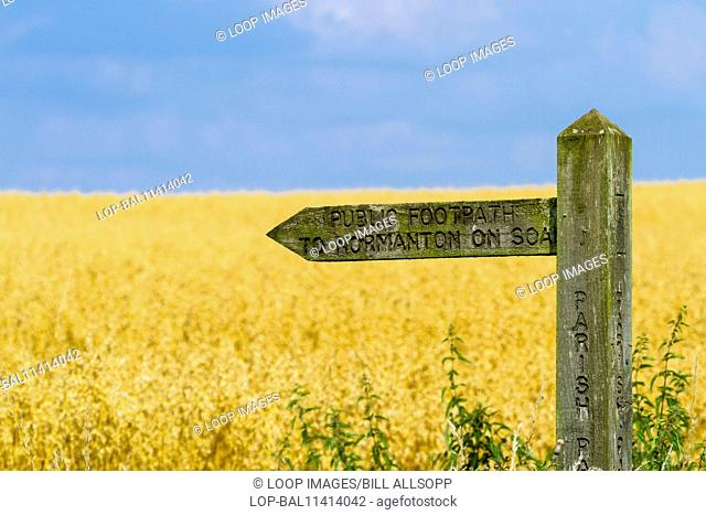 Public footpath sign in rural Leicestershire