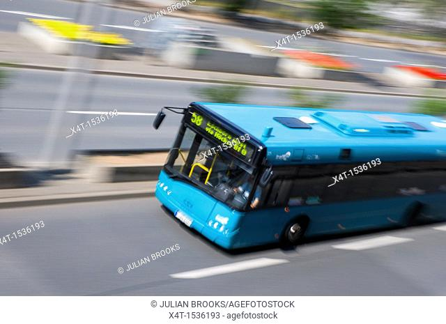 Number 58 bus speeding past in Frankfurt