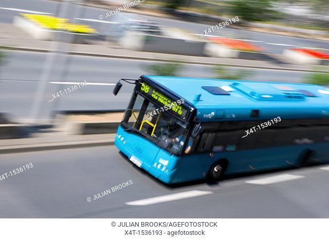 Number 58 bus speeding past in Frankfurt