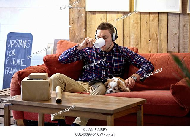 Mid adult man drinking coffee and petting dog in picture framers showroom