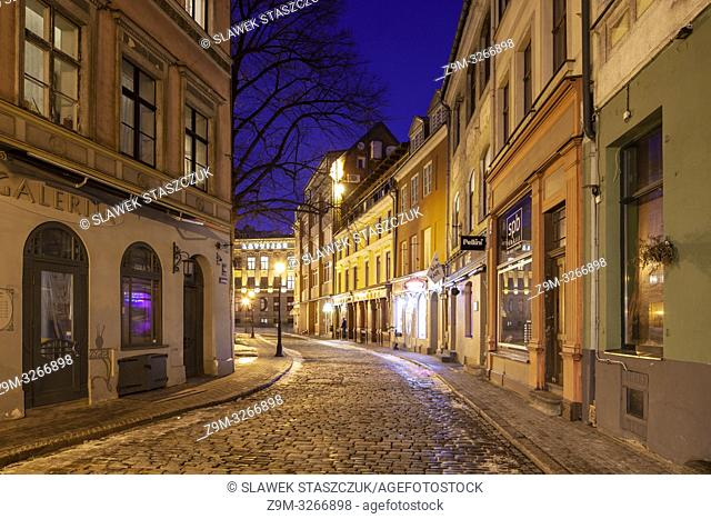 Evening in Riga old own, Latvia