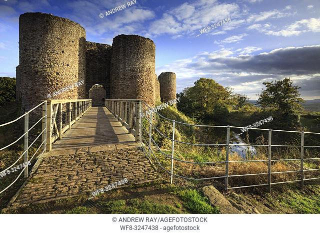 The bridge across the moat at White Castle near Llantilio Crossenny in Monmouthshire, Wales. The image was captured shortly before sunset in late October using...