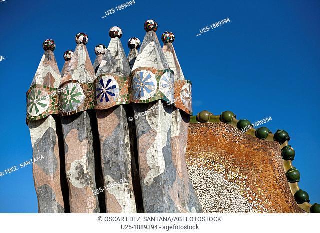 Spain, Catalonia, Barcelona, Casa Batllo by Gaudi