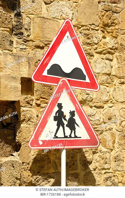 Two traffic signs, caution uneven road, caution pedestrians, Nicosia, Lefkosa, Turkish Republic of Northern Cyprus, Cyprus, Mediterranean, Europe
