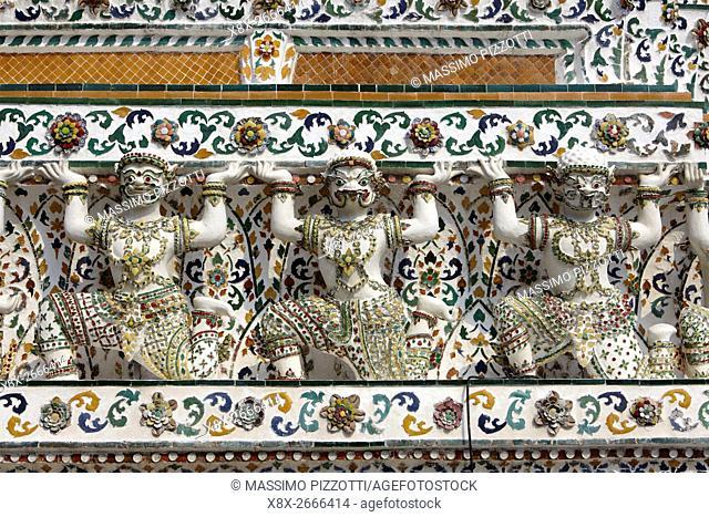 Decorations of Wat Arun temple, Bangkok, Thailand